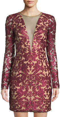 Dress the Population Claudia Long-Sleeve Plunging Sequin Dress