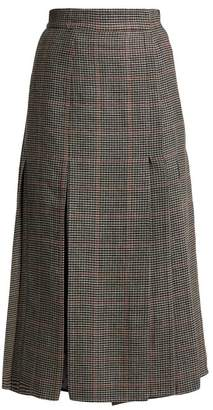 Erdem Ifannia Houndstooth Wool Blend Pleated Skirt - Womens - Black White