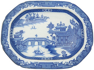 One Kings Lane Vintage 18th-C. English Willow Meat Platter - Rose Victoria