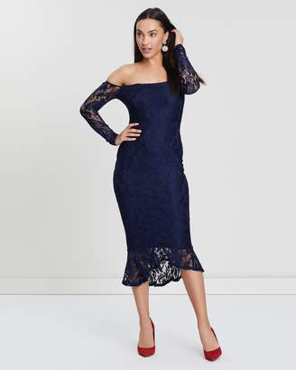 Missguided Lace Bardot Fishtail Midi Dress