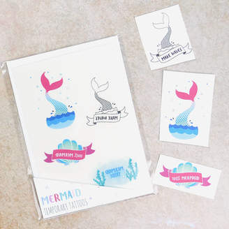 Pink and Turquoise Mermaid Temporary Tattoos