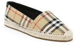 Burberry Leather& Cotton Espadrille Slip-Ons