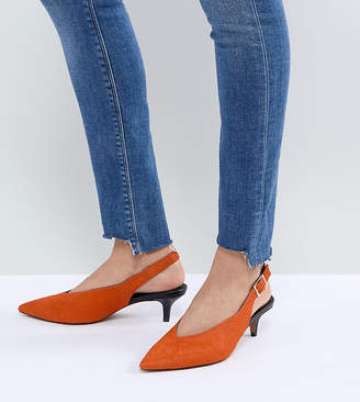 Asos DESIGN SAFARI Premium Leather Kitten Heels