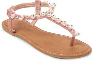 Twisted Velvet & Faux Pearl T-Strap Sandals