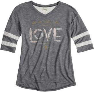 Mudd Girls 7-16 Crochet Striped Sleeve Varsity Tee