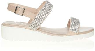 2cb1c8423d1f Next Lipsy Two Strap Diamanté Flat Sandals - 35.5 (UK 3)