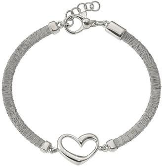 Italian Silver Wire Wrapped Heart Bracelet, Sterling 7.8g