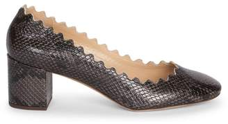 Chloé Lauren Snake-Embossed Leather Block Heel Pumps
