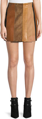 ADAM by Adam Lippes Patchwork Leather Mini Wrap Skirt