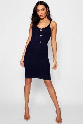 boohoo Rib Knit Button Front Midi Dress