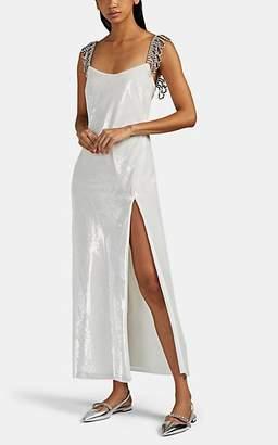 Area Women's Crystal-Embellished Velvet Dress - White