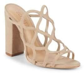 Schutz Nurten Block Heel Suede Sandals