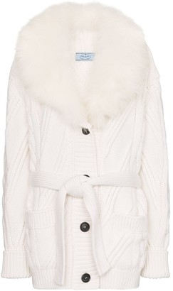 Prada cashmere fur-trimmed cardigan