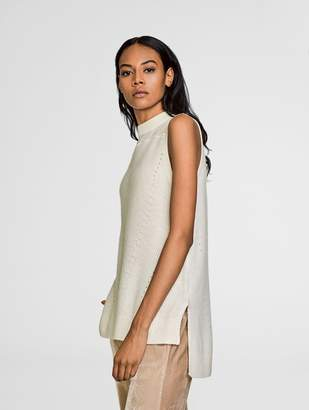 White + Warren Cashmere Chiffon Panel Tunic