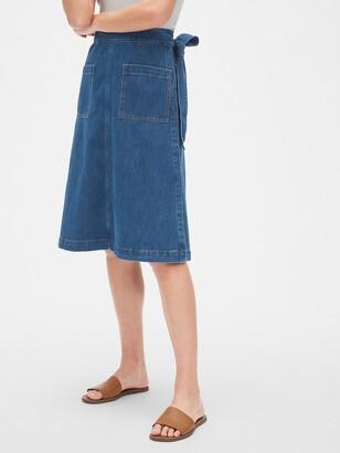Gap Denim Patch Pocket Wrap Skirt