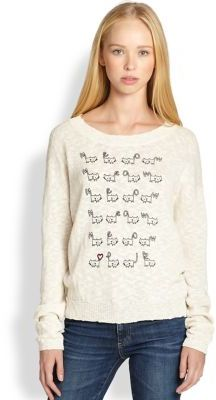 Patterson J. Kincaid PJK Cat-Print Cotton Slub Sweater