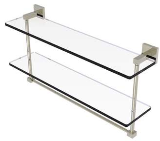 Allied Brass Montero Collection 22 Inch Two Tiered Glass Shelf with Integrated Towel Bar