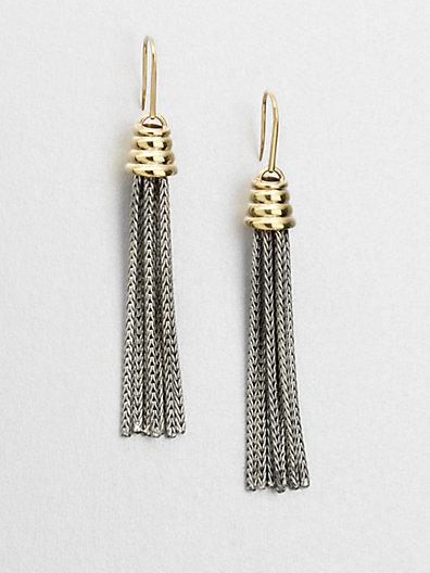 Elizabeth and James Sterling Silver & 18K Gold Tassel Earrings