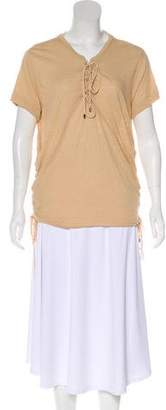 Haute Hippie Key-Hole Short Sleeve Top