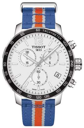 Tissot Men's NBA New York Knicks Quickster Chronograph NATO Strap Watch, 42mm