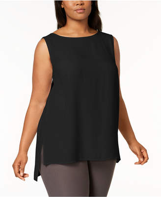 Eileen Fisher Plus Size SYSTEM Silk High-Low Tunic