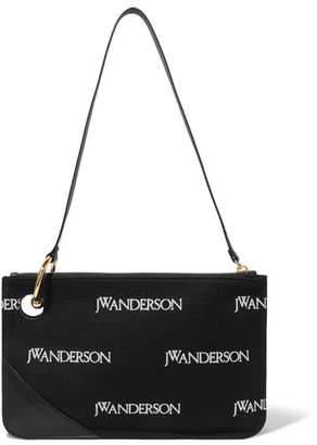 J.W.Anderson Leather-trimmed Embroidered Canvas Shoulder Bag