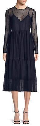 HUGO Long Sleeve Star Tulle Dress