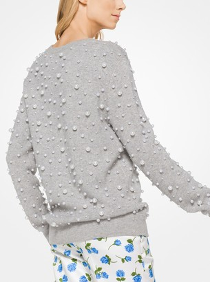 Michael Kors Pearl Embroidered Cashmere Sweatshirt