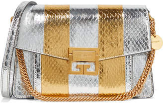 Givenchy Gv3 Small Metallic Watersnake Shoulder Bag - Silver