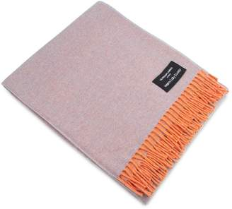 Heating & Plumbing London Merino Lambswool Throw Orange & Grey Reversible