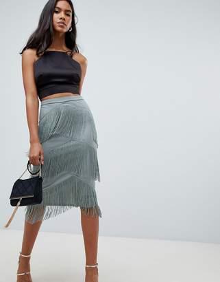 Asos Design DESIGN tiered fringe midi skirt