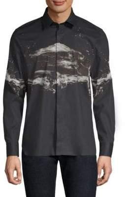 Neil Barrett Liquid Ink Cotton Button-Down Shirt