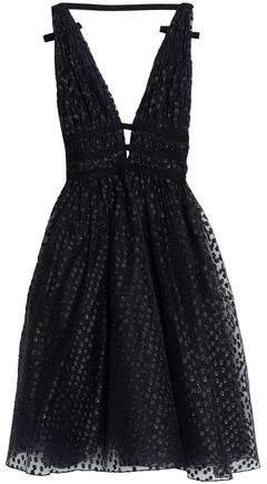 Open-Back Metallic Fil Coupé Midi Dress