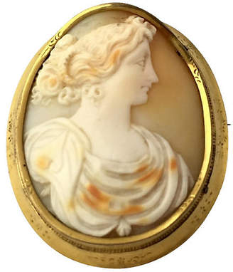 One Kings Lane Vintage Large Victorian Lady Cameo Brooch - Owl's Roost Antiques