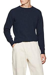 Margaret Howell Men's Wool-Cashmere Saddle-Shoulder Sweater - Blue