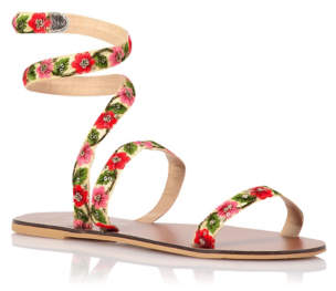 Bell George Ankle Wrap Floral Embellished Sandals