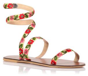 Bell Ankle Wrap Floral Embellished Sandals
