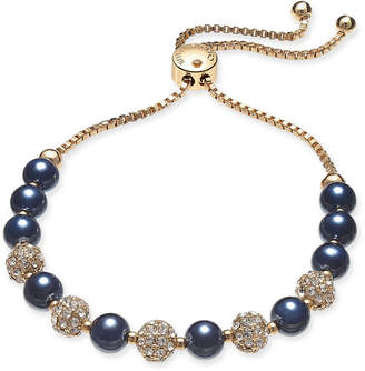 Charter Club Gold-Tone Crystal Bead & Colored Imitation Pearl Slider Bracelet, Created for Macy's