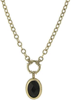 1928 Jewelry 1928 Black Stone Gold-Tone Pendant Necklace