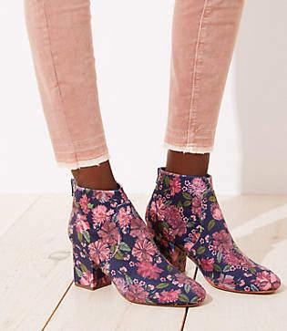 LOFT Floral Velvet Block Heel Ankle Boots