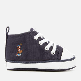 Polo Ralph Lauren Babies' Hamptyn Hi Canvas Trainers - Navy/Multi