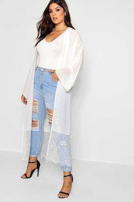 boohoo Plus Lace Trim Duster