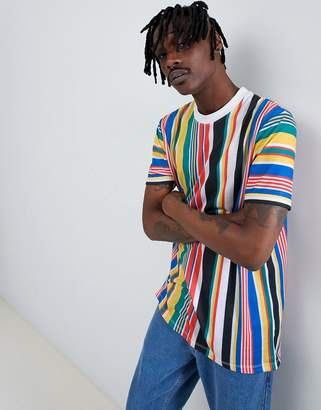 Asos DESIGN relaxed longline t-shirt with rainbow vertical stripe
