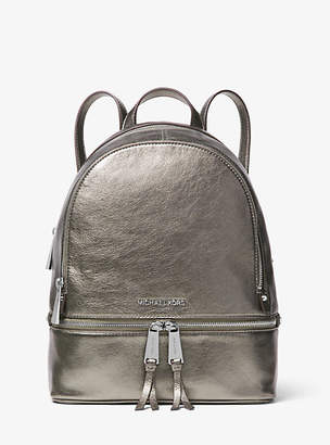 Michael Kors Rhea Medium Metallic Leather Backpack