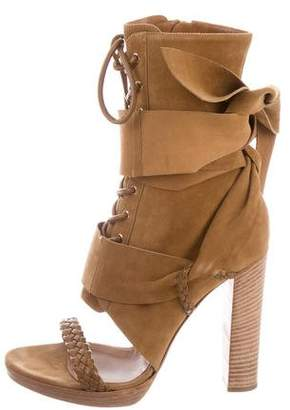 Gianvito Rossi Suede Open-Toe Booties