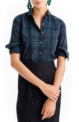 Women's J.crew Perfect Club Collar Black Watch Plaid Shirt $78 thestylecure.com