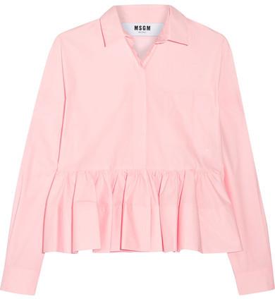 MSGM - Stretch Cotton-blend Poplin Peplum Shirt - Baby pink