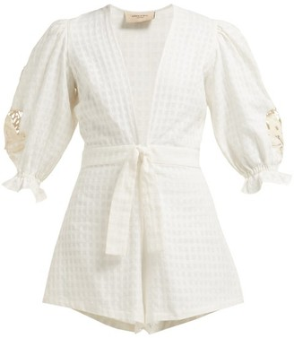 Adriana Degreas Porto Embroidered Sleeve Cotton Playsuit - Womens - White