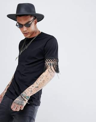 Asos DESIGN festival relaxed longline t-shirt with sleeve fringe detail