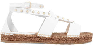 Jimmy Choo Denise Studded Leather Espadrille Sandals - White
